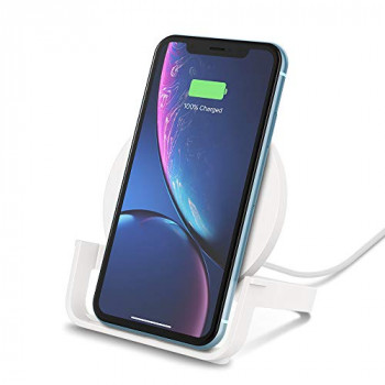 Belkin Boost Up Wireless Charging Stand 10 W, Fast Wireless Charger for iPhone XS, XS Max, XR, Samsung Galaxy S10, S10+, S10e, Huawei P30 Pro, UK Plug Included, White