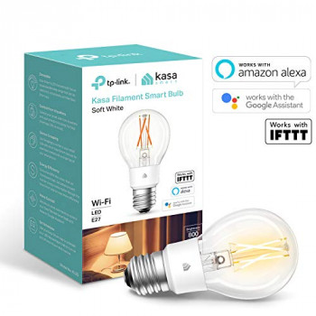 Kasa Smart Bulb by TP-Link, WiFi Filament Light Bulb, E27, 7W, Works with Amazon Alexa (Echo and Echo Dot) and Google Home, Dimmable Soft Warm White, No Hub Required (KL50) [Energy Class A++]