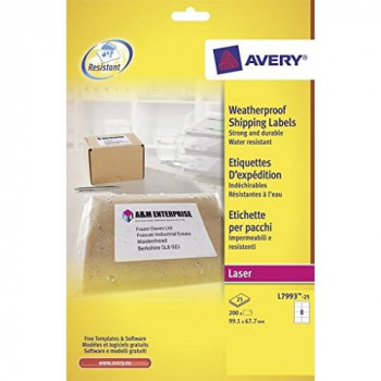 Avery L7993-25 Weatherproof Parcel Labels for Laser Printers (99.1 x 67.7 mm Labels, 8 Labels per A4 Sheet, 25 Sheets) - White