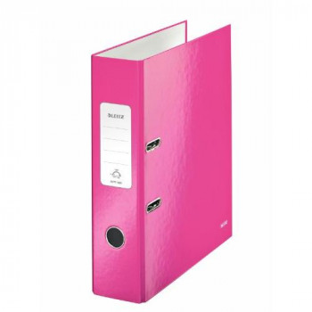 Leitz 180Degree WOW Laminated 80mm Lever Arch File Metallic Pink Pack of 10