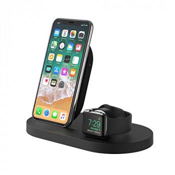Belkin Boost Up Wireless Charging Dock for iPhone + Apple Watch + USB-A Port (iPhone Dock/Wireless Charger for iPhone XS, XS Max, XR, X, 8/8 Plus, Apple Watch 4, 3, 2, 1) - Black