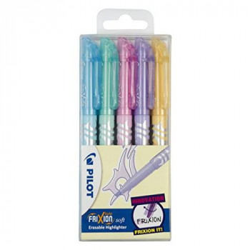 Pilot Frixion Light Soft Erasable Highlighter - Assorted, Pack of 5