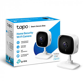 TP-Link Tapo Mini Smart Security Camera, Indoor CCTV, Works with Alexa&Google Home, No Hub Required, 3MP(2304 × 1296) High Definition, 2-Way Audio, Night Vision, SD Storage, Device Sharing(Tapo C110)