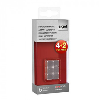 "Sigel GL192 1 x 1 x 1 cm Neodymium magnets C5 ""Strong"" (N42), cube design, silver for Glass magnetic boards (set of 6)"