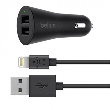 Belkin 2.4 A Dual Car Charger with Lightning Cable for iPhone X/8/8 Plus/7/7 Plus/SE/5/5s/5c/6/6s/6 Plus/6s Plus- Black