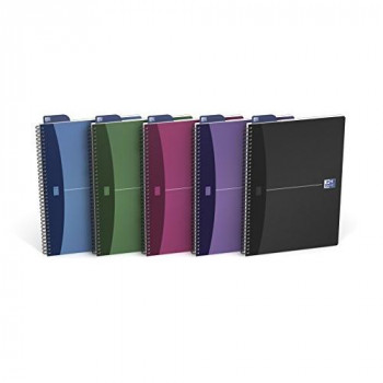Oxford Office A4 Metallics Wirebound Poly Cover Notebook (Pack of 5)