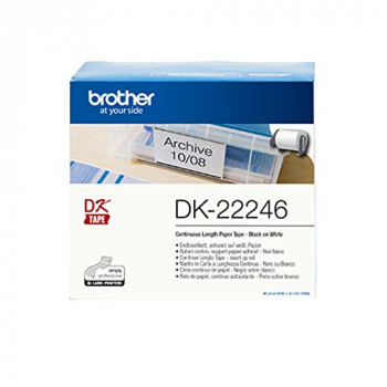 Brother DK-22246 Label Roll, Continuous Length Paper, Black on White, 103.6 mm (W) x 30.48 m (L), Brother Genuine Supplies