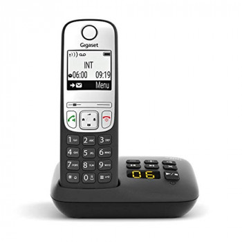 Gigaset A690A Easy to use Cordless DECT Home Telephone with Answering Machine, Speakerphone,Nuisance call block, home office. Single Handset, Silver/Black (Trio)