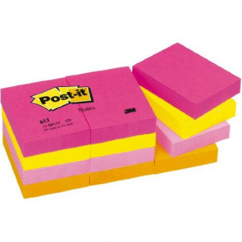 Post-it Notes - Warm Neon Rainbow - Ultra Fuchsia, Neon Yellow, Neon Pink, Neon Orange - 12 Pads Per Pack - 100 Sheets Per Pad - 38 mm x 51 mm
