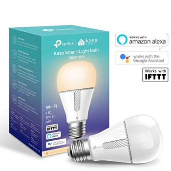 Kasa Smart WiFi Light Bulb by TP-Link, E27/B22, 10W, Works with Amazon Alexa (Echo and Echo Dot), Google Home and IFTTT, Dimmable Soft Warm White, No Hub Required [Energy Class A+]