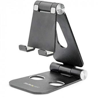 StarTech.com Phone and Tablet Stand - Foldable Universal Mobile Device Holder for Smartphones & Tablets - Adjustable Multi-Angle Ergonomic Cell Phone Stand for Desk - Portable - Black (USPTLSTNDB)