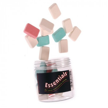 Whitecroft Essentials 37691 Stationery Tubs Pencil Erasers - Assorted Colours (Pack of 25)