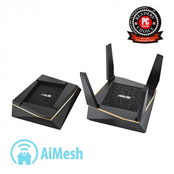 ASUS RT-AX92U AX6100 WIFI 6 Tri-Band Whole Home Mesh Wifi System for Large and Multi-Story Homes, Flexible SSID Setting, Wired Inter-Router connections, AiProtection, Trend Micro security, Pack of 2