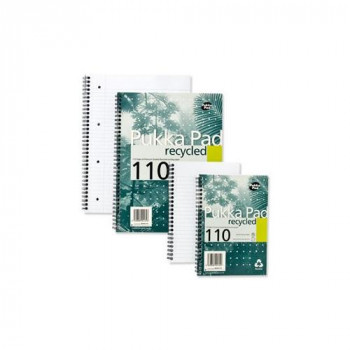 Pukka Pad PP00128 Notebook Recycled Wirebound Perforated Ruled 110pp 80gsm A5 Ref RCA5/110 Pack of 3
