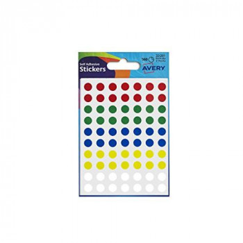 Avery 32-291 Packet of Dot Stickers (8 mm Dia, 416 Labels) - Assorted Colours