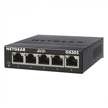 NETGEAR 5-Port Gigabit Ethernet Unmanaged Switch, Desktop, Internet Splitter, Sturdy Metal, Fanless, Plug and Play (GS305)