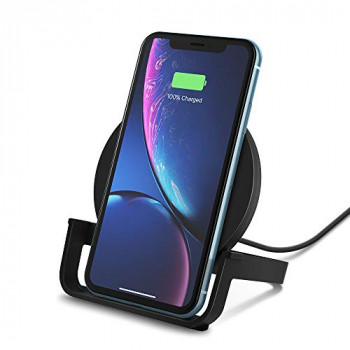Belkin Boost Up Wireless Charging Stand 10 W, Fast Wireless Charger for iPhone XS, XS Max, XR, Samsung Galaxy S10, S10+, S10e, Huawei P30 Pro, UK Plug Included, Black