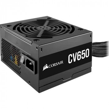 Corsair CV650 80 PLUS Bronze Non-Modular ATX 650 Watt Power Supply (Full Continuous Power, 120 mm Low-Noise Cooling Fan, Compact Casing, Black Sleeving and Casing) UK - Black