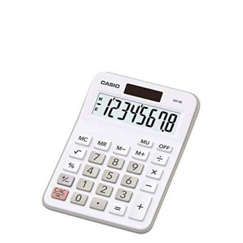 Casio Calculator Desktop Battery/Solar-powered 8 Digit 4 Key Memory 107x47x29mm White Ref MX-8B-WE 153377