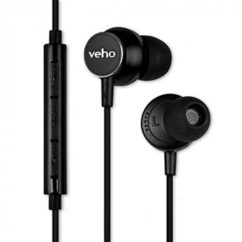 Veho Z-3 In-Ear Headphones | Stereo Earphones | Noise Isolating Earbuds | Microphone | Remote Control – Black (VEP-011-Z3)