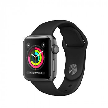 Apple 190198805973 38 mm  Series 3 Watch (GPS) with Space Grey Aluminium Case - Black Sport Band