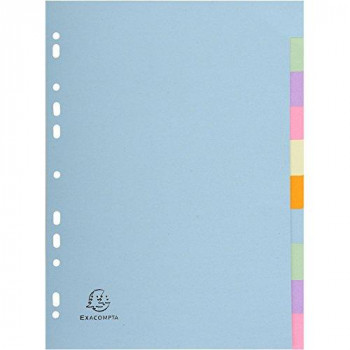 Exacompta Forever 10 Part Plain Dividers, A4, Assorted Pastel Colours
