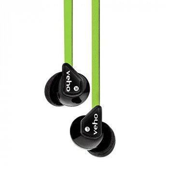 Veho Z-1 In-Ear Headphones   Anti Tangle Cable   Stereo Noise Isolating   Earbuds   Earphones - Green (VEP-003-360Z1-L)