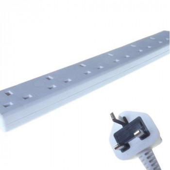 Connekt Gear 2m Male Mains Power PDU 6 Gang UK Socket Extension Block