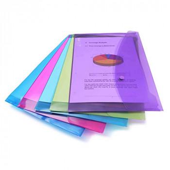 Rapesco Popper Wallet - A4/Foolscap. Assorted Transparent Colours, Pack of 5