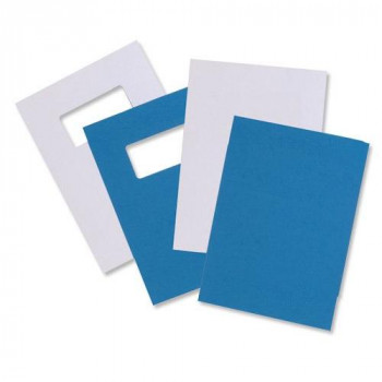 GBC A4 Blue 280gsm Window Front Leatherboard Binding Covers Ref 46735E - Pack 25x2