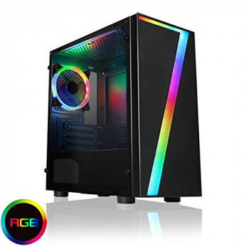 CiT Seven MATX RGB PC Gaming Case, Micro-ATX & Mini ITX Mobo Support, RGB LED Strip Included, 1 x 120mm Single-Ring Halo Spectrum Fan Included, Space For 8 Fans, Water Cooling Support   Black