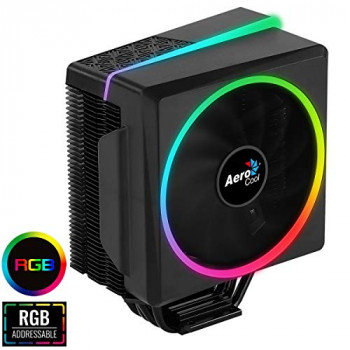 Aerocool Cylon 4 ARGB CPU Cooler, 1 x 120mm PWM Fan, ASUS Aura Sync, Mystic Light Sync, Gigabyte RGB Fusion, Compatible for AMD and Intel Platforms, The Perfect Air Cooling Solution | Black
