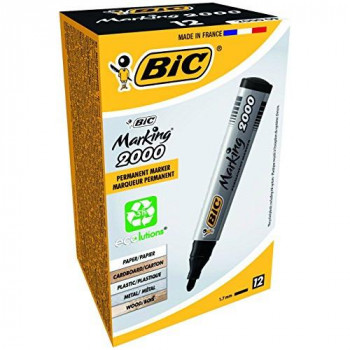 BIC Marking 2000 Permanent Markers Bullet Tip Black, Box of 12