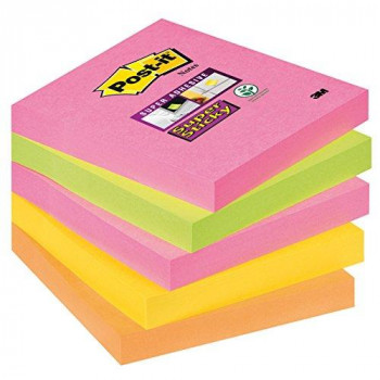 Post-it Super Sticky Notes - Neon Rainbow Neon Pink, Limeade, Ultra Yellow, Neon Orange - 5 Pads Per Pack - 90 Sheets Per Pad - 76 mm x 76 mm