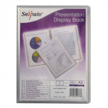 Snopake 11941 A5 Presentation Display Book with 20 Pockets - Clear (1 Piece)