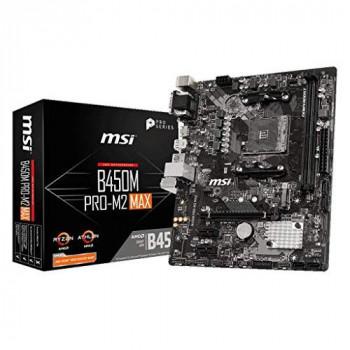 MSI B450M PRO-M2 MAX Motherboard mATX, AM4, DDR4, LAN, USB 3.2 Gen1, M.2, VGA, DVI-D, HDMI, AMD RYZEN 1st, 2nd and 3rd Gen Ready