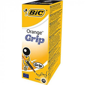 BIC Orange Grip Ball Pen Translucent Barrel 0.8mm Tip 0.2mm Line Black Ref 811925 [Pack of 20]