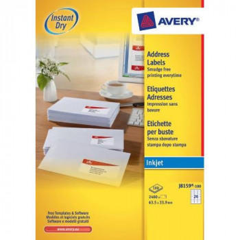 Avery J8159-100 Address Labels for Inkjet Printers (63.5 x 33.9 mm Labels, 24 Labels per A4 Sheet, 100 Sheets)