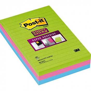 3M Post-it Super Sticky Notes, 102 x 152 mm - Ultra Colours, Pack of 1 (3 x 90 Sheets per Pad)
