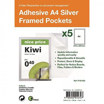 Pelltech P181505 A4 Self Adhesive Display Frame with Magnetic Closure - Silver (Pack of 5)