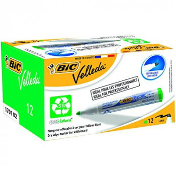 BIC VELLEDA WhiteBoard 1701 Bullet Marker 1.5mm Box of 12 - Green