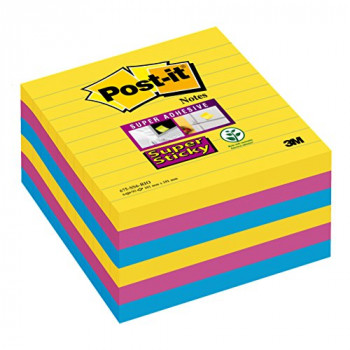 "Post-it 101 x 101 mm ""Rio Color collection"" Lined Super Sticky Notes (Pack of 6)"
