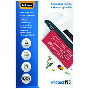 Fellowes Protect A4 175 Micron Glossy Laminating Pouches (Pack of 100)