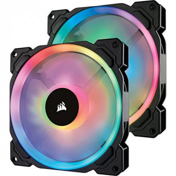 Corsair  CO-9050074-WW LL140 RGB Dual Light Loop RGB LED PWM Fan 2 Fan Pack with Lighting Node PRO, 140 mm