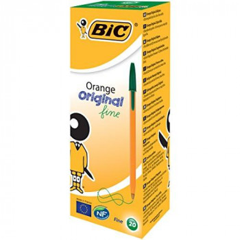 BIC Orange Original Fine Ballpoint Pen - Green, Pack of 20