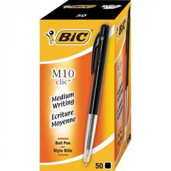 BIC M10 Clic Medium 1.0mm Ball Pen Box of 50 - Black
