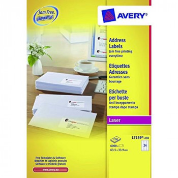 Avery L7159-250 Address Labels (A4 Sheets of 63.5 x 33.9 mm, 24 Labels per Sheet, 250 Sheets) - White
