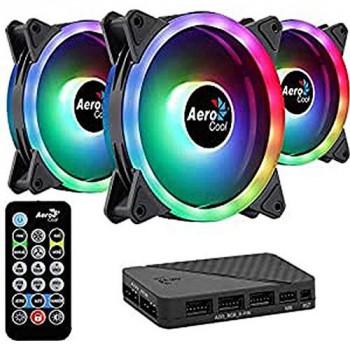 Aerocool Duo 12 Pro: 3 x 12 cm ARGB LED PC Fans, 1 x H66F Hub, 1 x Remote Control