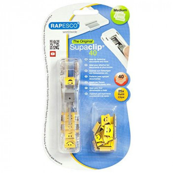 Rapesco 1370 Supaclip #40 - See Through Dispenser with 25 Emoji Clips