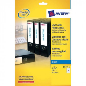 Avery J8171-25 Lever Arch File Labels for Inkjet Printers (200 x 60 mm, 4 Labels per A4 Sheet, 25 Sheets) - White